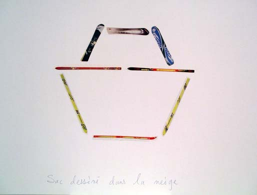 Claude Closky, 'Sac dessiné dans la neige [Bag Draw in the Snow] (Lacroix)', 1998, blue ballpoint pen and collage on paper, 51 x 70 cm.